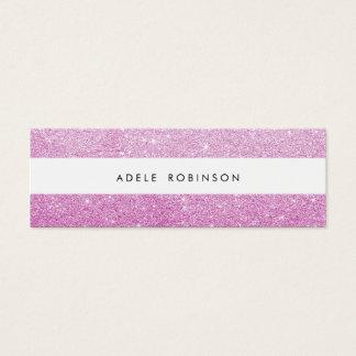Modern Chic Pink Glitter White Stripe Mini Business Card