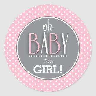 Modern Chic Pink Its a Girl Classic Round Sticker