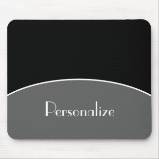 Modern Chic Professional Black With Name Mouse Pad