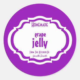 Modern Chic Purple Canning Label Classic Round Sticker