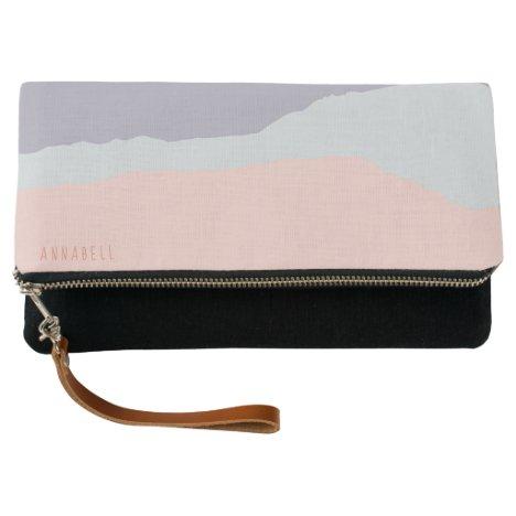 Modern Chic Purple Gray Pink Stripe Personalized Clutch