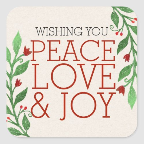 Modern Chic Red Peace Joy Love Christmas Holiday Square Sticker