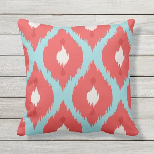 Modern chic red turquoise ikat pillow Zazzle
