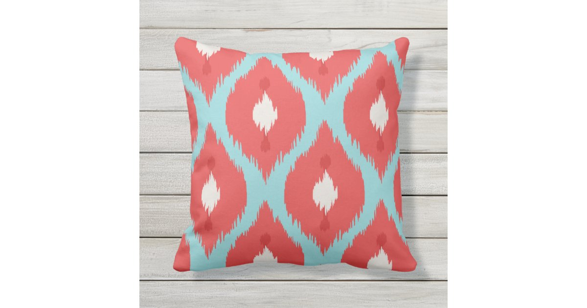 Modern Turquoise Pillows : Modern chic red turquoise ikat pillow Zazzle