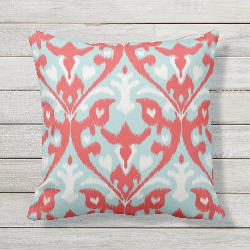 Modern Chic Pillows : Modern chic red turquoise ikat pillow Zazzle