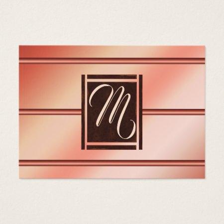 Modern Stylish Elegant Feminine Rose Gold and Chocolate Brown Monogram Female Accountant Business Cards Template
