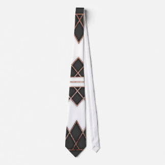 Modern Chic Rose Gold Black and White Triangles Neck Tie