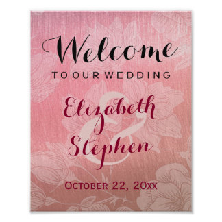 Modern Chic Rose Gold Floral Wedding Sign Poster