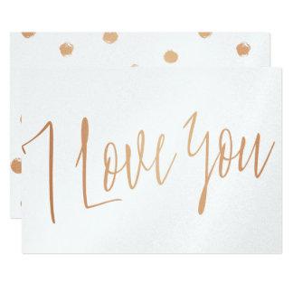 "Modern Chic Rose Gold  ""I love you"" Card"
