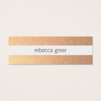 Modern Chic Rose Gold Striped Pattern Beauty Mini Business Card
