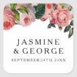 MODERN Chic Simple Font w Vintage Roses Floral Square Sticker