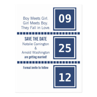 Modern Chic Squares Save the Date Postcard
