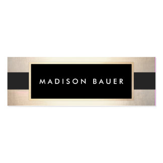 Modern Chic Striped Black and FAUX Gold Foil 2 Mini Business Card