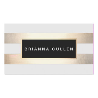 Modern Chic Striped FAUX Gold Foil and Black Business Card