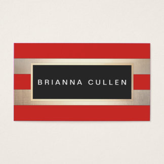Modern Chic Striped FAUX Gold Foil Red Business Card