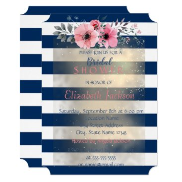 Bride Themed Modern Chic Striped Flowers Bridal Shower Card