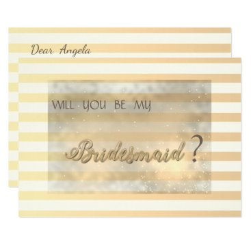 Bride Themed Modern Chic Striped Flowers Bridesmaid Card