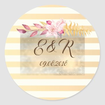 Wedding Themed Modern Chic Striped Flowers Classic Round Sticker