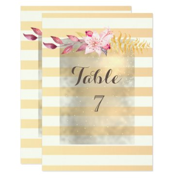 Wedding Themed Modern  Chic Striped  Flowers Table Card