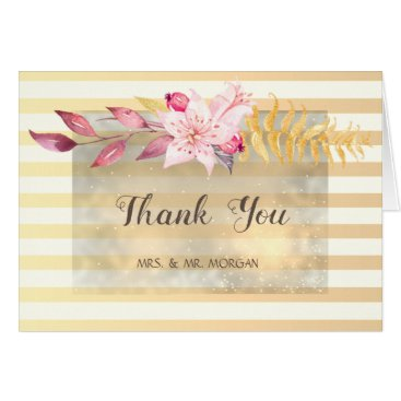 Wedding Themed Modern Chic Striped Flowers Wedding Card