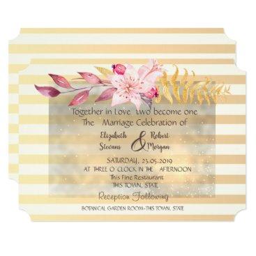 Modern Chic Striped Flowers Wedding Invitation
