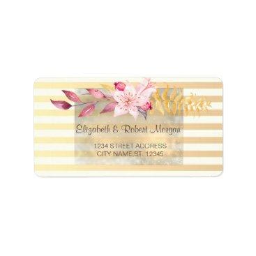 Wedding Themed Modern Chic Striped Flowers  Wedding Label