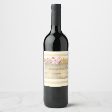 Wedding Themed Modern  Chic Striped Flowers Wine Label