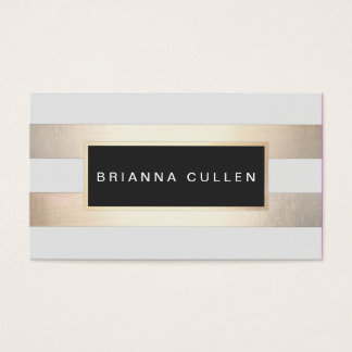 Modern Chic Striped Gold Foil (image) and Black Business Card
