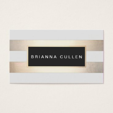 sm_business_cards Modern Chic Striped Gold Foil (image) and Black Business Card