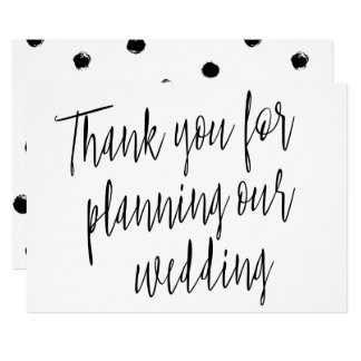 "Modern Chic ""Thank you for planning our wedding"" Card"