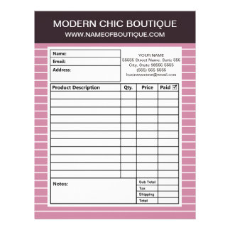 Modern Chic Thin Pink Stripes Boutique Order Forms Letterhead
