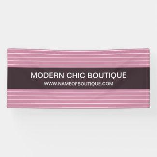 Modern Chic Thin Pink Stripes Fashion Boutique Banner