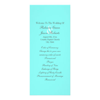 modern chic turquoise tiffany blue wedding program rack card