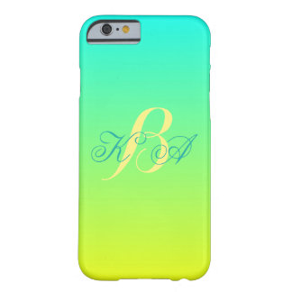 modern chic turquoise yellow green ombre monograms barely there iPhone 6 case