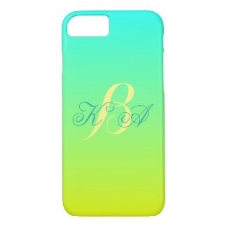 modern chic turquoise yellow green ombre monograms iPhone 7 case