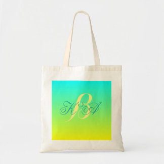modern chic turquoise yellow green ombre monograms tote bag