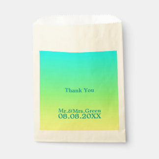 modern chic turquoise yellow green ombre wedding favor bag