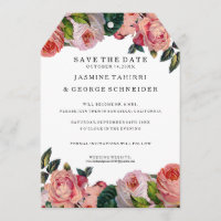 MODERN Chic Vintage Floral Roses, Save the Date