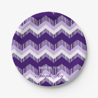 modern chic vintage ombre purple chevron wedding paper plate