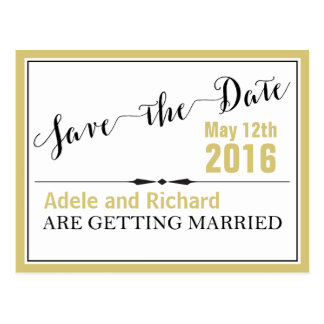 Modern Chic Wedding Save the Date Postcard