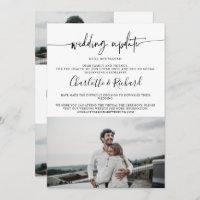 Modern chic wedding update downsizing 4 photos announcement