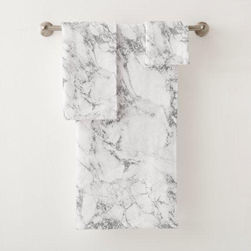 Modern Chic White Gray Silver Gray Glitter Marble Bath Towel Set