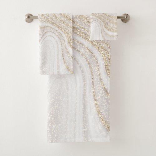 Modern chic white marble faux gold glitter bath towel set
