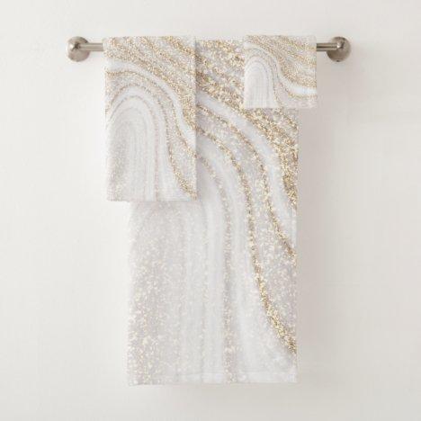 Modern chic white marble gold glitter bath towel set