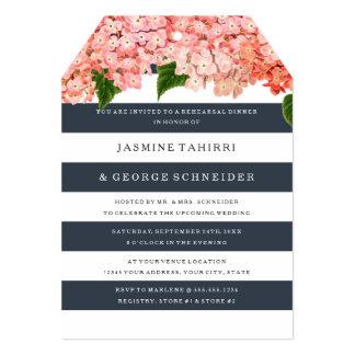 MODERN Chic Wide Stripes Vintage Hydrangea Floral Card