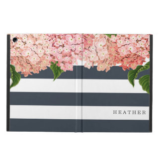 MODERN Chic Wide Stripes Vintage Hydrangea Floral iPad Air Cases