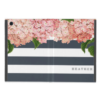 MODERN Chic Wide Stripes Vintage Hydrangea Floral iPad Mini Covers