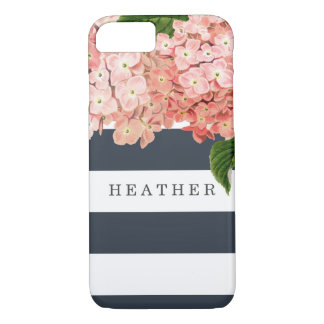 MODERN Chic Wide Stripes Vintage Hydrangea Floral iPhone 7 Case
