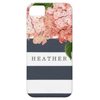 MODERN Chic Wide Stripes Vintage Hydrangea Floral iPhone SE/5/5s Case