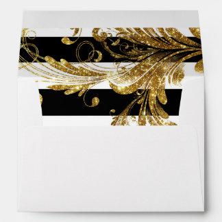 MODERN Chic Wide Stripes w Glitter Scroll Flourish Envelopes